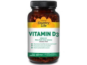 Vitamin D3 2,500 IU Non-fish liver source - Country Life - 60 - Softgel