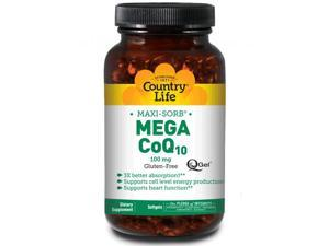 MAXI-SORB CoQ10 Mega Q-Gel 100 mg - Country Life - 90 - Softgel