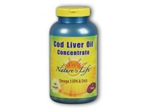 Cod Liver Oil Concentrate 1140mg - Nature's Life - 180 - Softgel