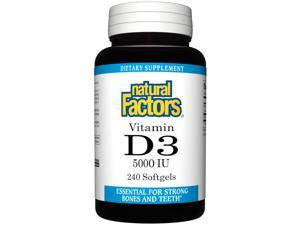 Vitamin D3 5000 IU - Natural Factors - 240 - Softgel