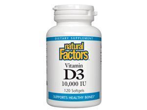 Vitamin D3 10,000 IU - Natural Factors - 120 - Softgel