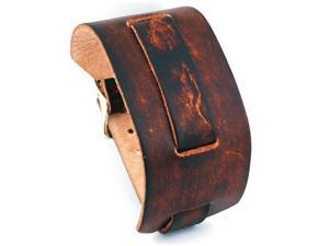 Nemesis #NB-BS Wide Brown Leather Cuff Watch Band