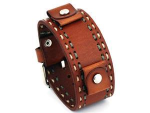 Nemesis #LBDT Brown Wide Leather Cuff Wrist Watch Band with Stitching
