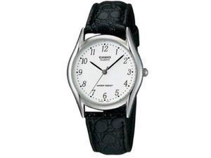 Casio #LTP1094E-7B Women's Leather Strap Fashion Easy Reader White Dial Analog Quartz Watch