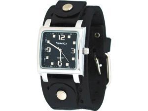 Nemesis #NE240K Men's Square Black Dial Wide Leather Cuff Band Watch