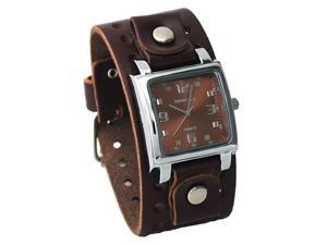 Nemesis #BBB516B Men's Dark Brown Wide Leather Cuff Band Analog Brown Dial Watch