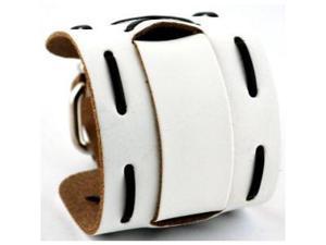 Nemesis #WX13-WK Wide White Leather Cuff Wrist Watch Band