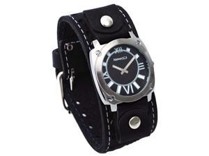 Nemesis #STH066K Men's Black Textured Dial Wide Leather Cuff Band Watch
