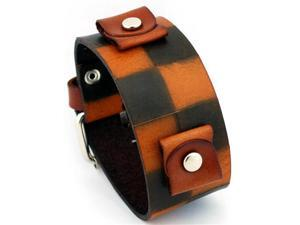 Nemesis #BCK Checker Brown Wide Leather Cuff Wrist Watch Band