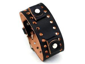 Nemesis #BN-VT Black Wide Leather Cuff Wrist Watch Band