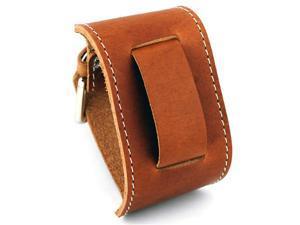 Nemesis #BGSB Brown Wide Leather Cuff Wrist Watch Band with White Stitching