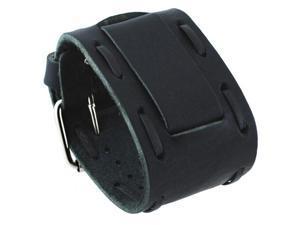 Nemesis #HIN-K Wide Stitching Black Leather Cuff Wrist Watch Band