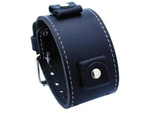 Nemesis #LBB-K Wide Black Leather Cuff Wrist Watch Band
