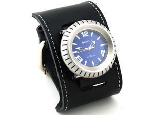 Nemesis #GSB079L Men's Signature Wheelmen Wide Leather Cuff Band Watch