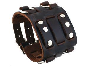 Nemesis #WB-BB Wide Dark Brown Leather Tri Clasp Cuff Wrist Watch Band