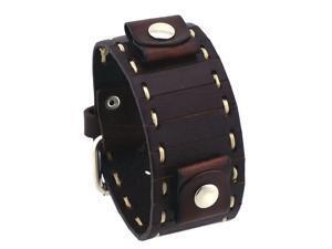 Nemesis #BCST White Stitch Parted Dark Brown Wide Leather Cuff Wrist Watch Band