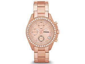 Fossil Decker Chronograph Rose Dial Rose Gold-tone Bracelet Ladies Watch ES3352