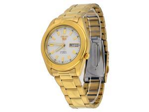 Seiko 5 #SNKM72 Men's Gold Tone Stainless Steel White Dial Self Winding Automatic Watch