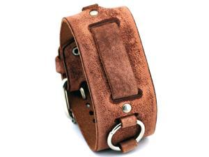 Nemesis #FRB-B Wide Light Brown Leather Cuff Watch Band