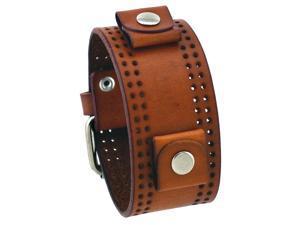 Nemesis WP-B 22mm Lug Width Brown Wide Leather Cuff Wrist Watch Band