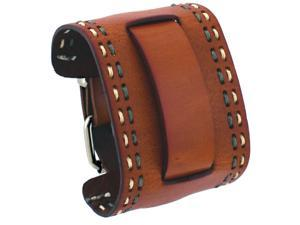 Nemesis #HD-BRG Brown Wide Leather Cuff Wrist Watch Band with Stitching