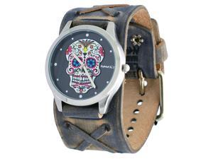 Nemesis #FXB925K Women's Rock Collection Sugar Skull Grey Wide Leather Band Watch