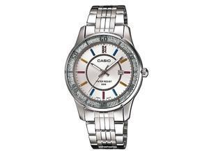 Casio LTP-1358D-7A Women's Lamé-Sprinkled Bezel Metal Fashion Silver Dial Watch