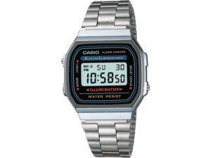 Casio #A168WA-1 Men's Metal Band Chronograph Alarm Illuminator Digital Watch
