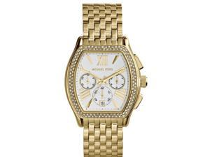 Michael Kors Amherst Chronograph Silver Dial Gold-plated Ladies Watch MK5898