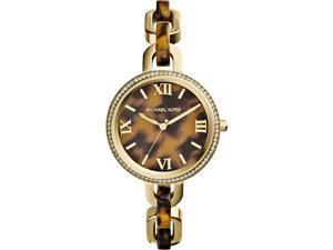 Michael Kors Delaney Tortoise-shell Dial Tortoise Acetate & Gold-tone Watch