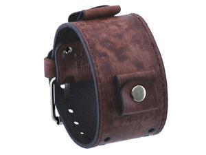 Nemesis FLBB-B 26mm Lug Width Wide Vintage Tan Brown Leather Cuff Watch Band