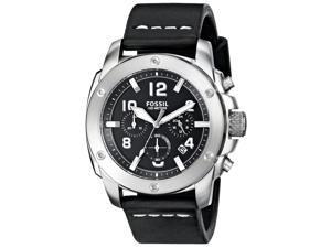 Fossil FS4928 Men's Modern Machine Leather Band Black Dial Chronograph Watch