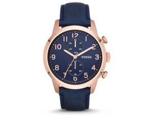 Fossil FS4933 Men's Townsman Rose Gold Tone Blue Leather Band Chronograph Watch