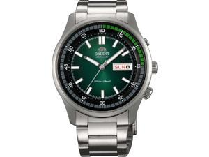 Orient FEM7E004F Men's Stainless Steel Green Dial Day/Date 50M Automatic Watch
