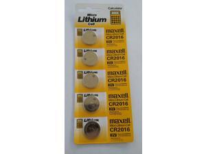 Maxell CR2016 Lithium Battery 3V  (5 Batteries Per Pack)