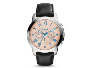 Fossil Men's FS4989 Grant Chronograph Leather Watch - Black