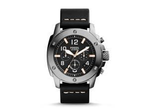 Fossil Men's FS5016 Modern Machine Chronograph Leather Watch - Black