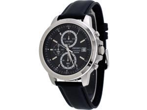 Seiko SKS453 Men's Leather Band Black Dial Casual Chronograph Sports Watch