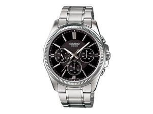 Casio #MTP1375D-1AV Men's Metal Band Fluted Bezel Multifunction Black Dial Watch