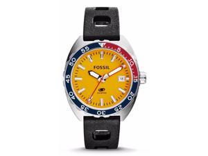Fossil FS5052 Men's Breaker Three-Hand Date Silicone Band Yellow Dial Watch