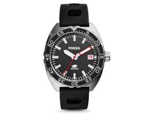 Fossil FS5053 Men's Breaker Three-Hand Date Silicone Band Black Dial Watch