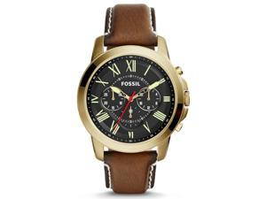 Fossil FS5062 Men's Grant Gold Tone Dark Brown Leather Band Chronograph Watch