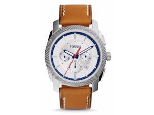 Fossil FS5063 Men's Machine Light Brown Leather Silver Dial Chronograph Watch