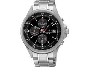 Seiko SKS477 Men's Stainless Steel Black Dial Casual Chronograph Sports Watch