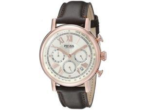 Fossil FS5103 Men's Buchaman Rose Gold Tone Brown Leather Band Chronograph Watch