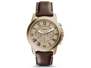 Fossil FS5107 Men's Grant Rose Gold Tone Brown Leather Band Chronograph Watch