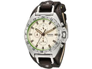 Fossil CH3004 Mens Breaker Brown Leather Cuff Band Cream Dial Chronograph Watch