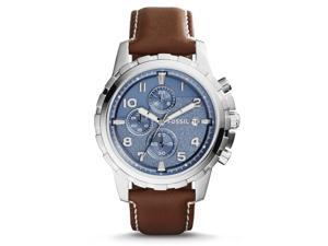 Fossil FS5022 Men's Dean Dark Brown Leather Band Blue Dial Chronograph Watch