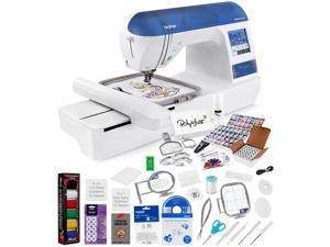 Brother Designio DZ820E Embroidery Machine + Grand Slam Package Includes 64 Embroidery Threads + Prewound Bobbins + Cap Hoop + Sock Hoop + Stabilizer + 15,000 Designs + Scissors ($1,170 Value)