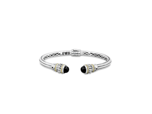 Effy Jewlery Balissima Silver & 18K Gold Onyx Bangle, 4.25 TCW